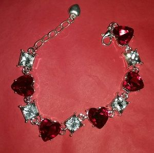 Red Hearts and clear squares bracelet